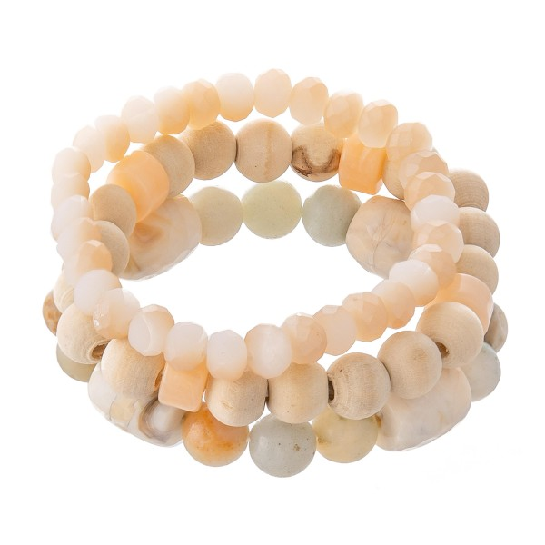 "Semi Precious Beaded Stretch Bracelet Set Featuring Wood Beads.  - Approximately 3"" in Diameter - Fits up to a 7"" Wrist"