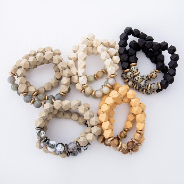 "Diamond Faceted Wood Beaded Stretch Bracelet Featuring Natural Stone Details.  - 3pcs per set - Approximately 3"" in Diameter - Fits up to a 7"" Wrist"