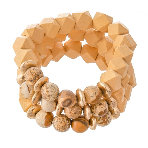"""Diamond Faceted Wood Beaded Stretch Bracelet Featuring Natural Stone Details.  - 3pcs per set - Approximately 3"""" in Diameter - Fits up to a 7"""" Wrist"""