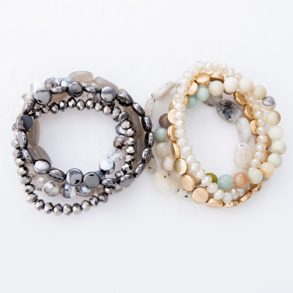 "Semi Precious Beaded Stretch Bracelet Set.  - 4pcs per set - Approximately 3"" in Diameter - Fits up to a 7"" Wrist"