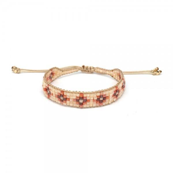 "Seed Beaded Flower Design Bolo Bracelet.  - Approximately 3"" in Diameter - Adjustable Bolo Closure"