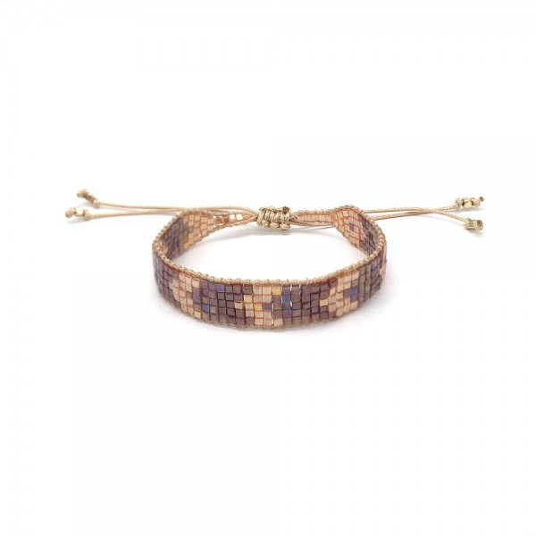 """Seed Beaded Chevron Pattern Bolo Bracelet.  - Approximately 3"""" in Diameter - Adjustable Bolo Closure"""