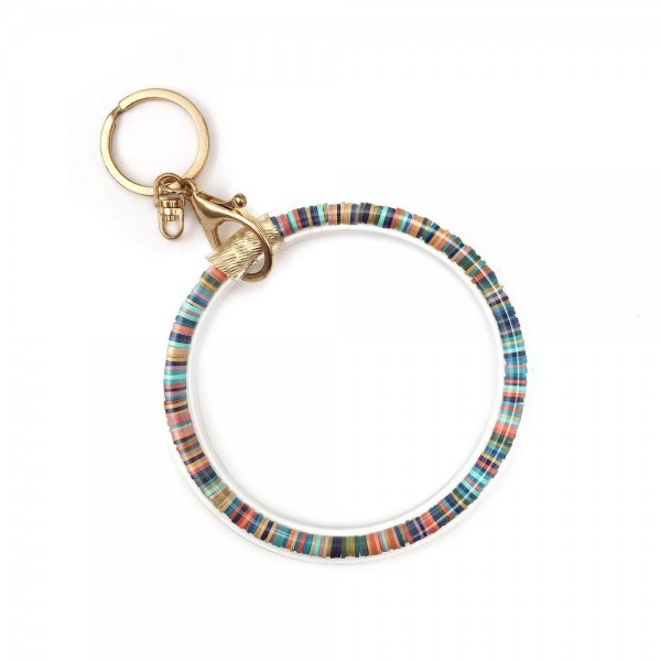 Wholesale rubber Beaded Key Ring Bangle Wristlet Keys Can Wear Wrist Attach Bags
