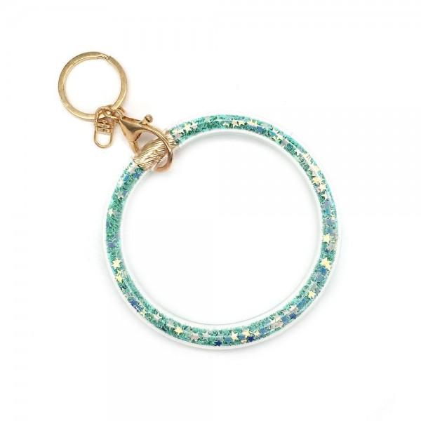 "Glitter Star Filled Key Ring Bangle Keychain Wristlet.  - Can attach on Bags or Purses - Wear on Wrist as Bangle Bracelet - Inner Diameter 4"""