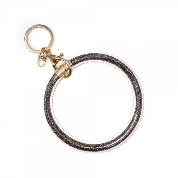 """Metal Tone Pebble Filled Key Ring Bangle Keychain Wristlet.  - Can attach to Bags or Purses - Wear on Wrist as Bangle Bracelet - Inner Diameter 4"""""""