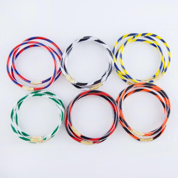 """Two Tone Color Jelly Bangle Bracelet Set.  - 3 Pieces Per Set - Approximately 3"""" in Diameter - Fits up to a 6"""" Wrist"""