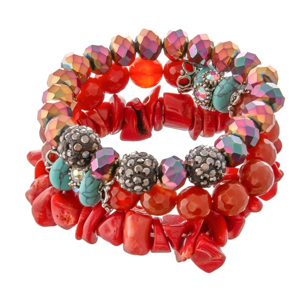 """Semi Precious Rhinestone Rock Beaded Turquoise Stretch Bracelet Set.  - 3 Piece Per Set - 10mm Bead Size - Approximately 3"""" in Diameter - Fits up to a 7"""" Wrist"""