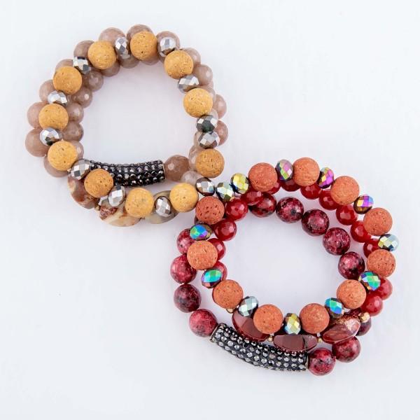 "Semi Precious Beaded Lava Rock Rhinestone Stretch Bracelet Set.  - 3 Pieces Per Set - 10mm Bead Size - Approximately 3"" in Diameter - Fits up to a 7"" Wrist"