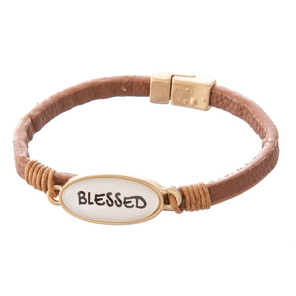"Faux Leather Magnetic Bracelet Featuring ""Blessed"" Dome Focal Detail.  - Focal 1""  - Magnetic Closure - Approximately 2.5"" in Diameter - Fits up to a 5"" Wrist"