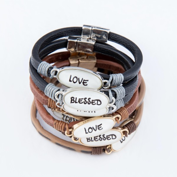 "Faux Leather Magnetic Bracelet Featuring ""Love"" Dome Focal Detail.  - Focal 1"" - Magnetic Closure - Approximately 2.5"" in Diameter - Fits up to a 5"" Wrist"