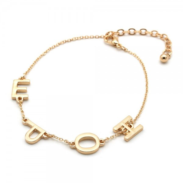 "HOPE Message Chain Bracelet in Gold.  - Approximately 3"" in Diameter  - 3"" Adjustable Extender"