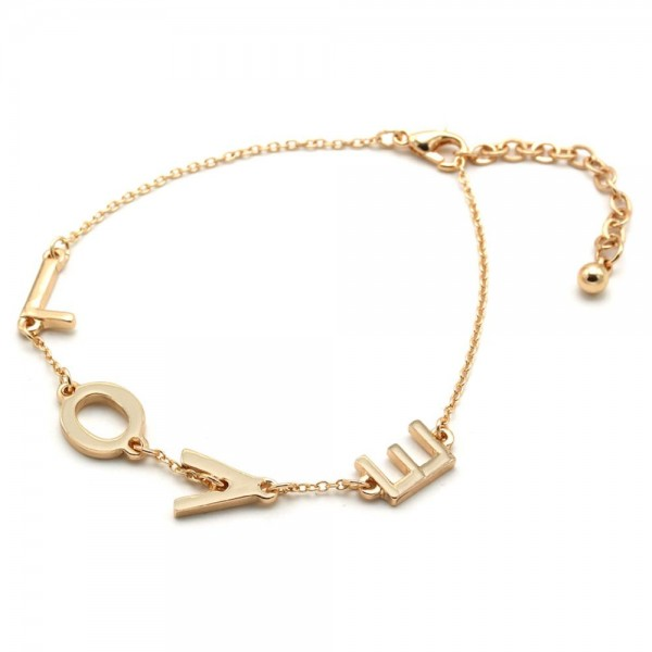 "LOVE Message Chain Bracelet in Gold.  - Approximately 3"" in Diameter  - 3"" Adjustable Extender"