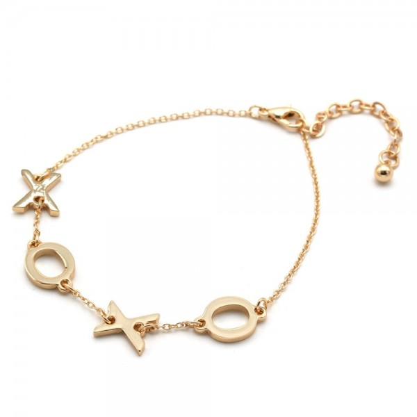 "XOXO Message Chain Bracelet in Gold.  - Approximately 3"" in Diameter  - 3"" Adjustable Extender"
