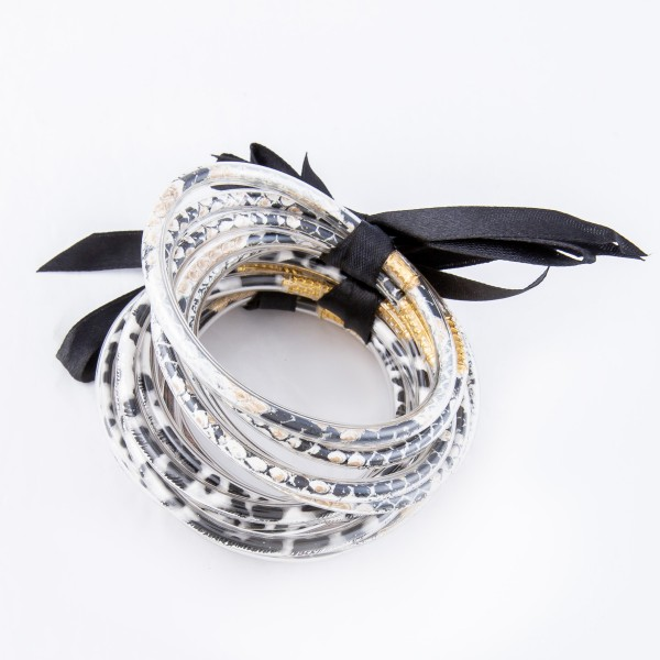 """Leopard Print Jelly Bangle Bracelet Set.  - 5 Pieces Per Set - Approximately 3"""" in Diameter - Fits up to a 6"""" Wrist"""