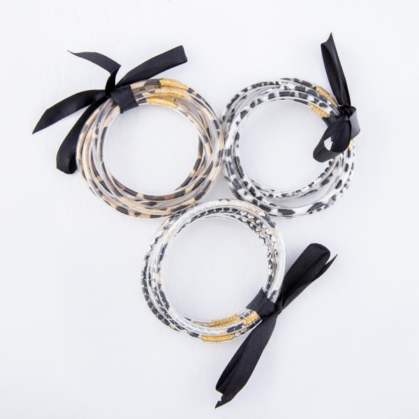 """Snakeskin Jelly Bangle Bracelet Set.  - 5 Pieces Per Set - Approximately 3"""" in Diameter - Fits up to a 6"""" Wrist"""