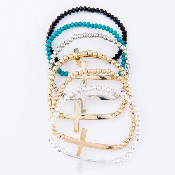 "Beaded Cross Stretch Bracelet.  - Cross 1.5""  - Approximately 3"" in Diameter - Fits up to a 7"" Wrist"