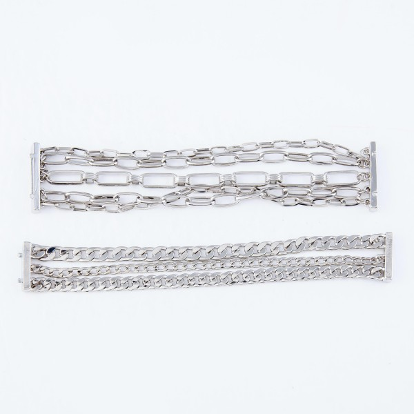 "Chain Link Magnetic Bracelet.  - Magnetic Closure - Approximately 3"" in Diameter - Fits up to a 6"" Wrist"