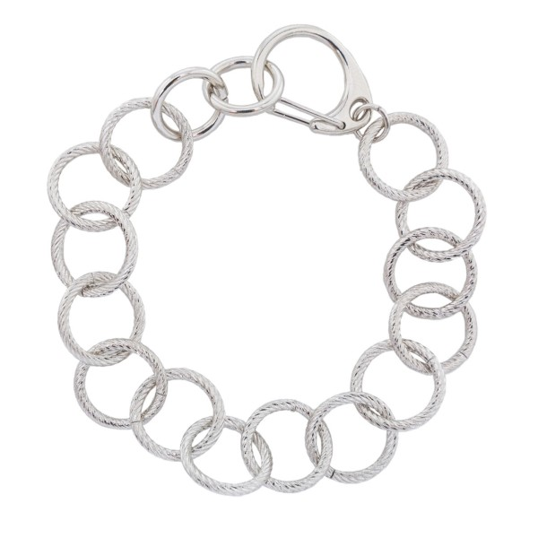 "Circle Chain Link Bracelet Featuring Clip Closure.  - Clip Clasp Closure - Approximately 3"" in Diameter - Fits up to a 6"" Wrist"