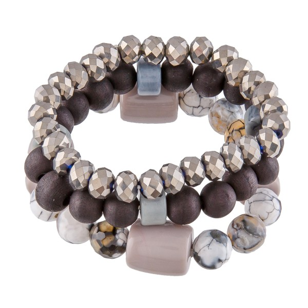 "Semi Precious Beaded Statement Stretch Bracelet Set.  - 3 PC Per Set - Color: Grey/White/Black/Hematite - Bead Size 7mm, 9mm, 13mm - Approximately 3"" in Diameter"