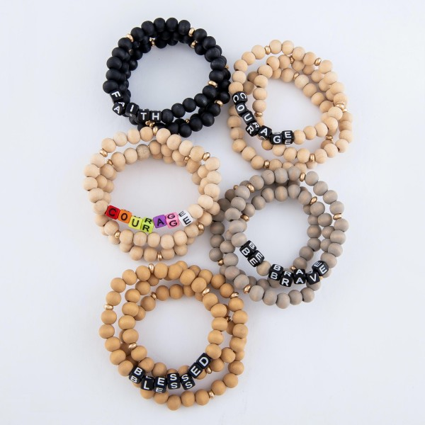 "Wood Beaded Black Be Brave Block Letter Stretch Bracelet Set.  - 3 PC Per Set - Bead Size 7mm - Approximately 3"" in Diameter"