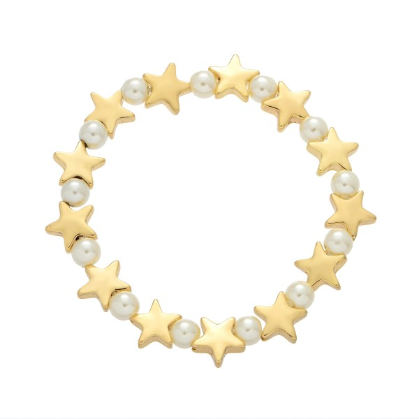"Star Pearl Stretch Bracelet in Gold.  - Pearl's 4mm - Star approximately 1cm  - Approximately 3"" in Diameter"
