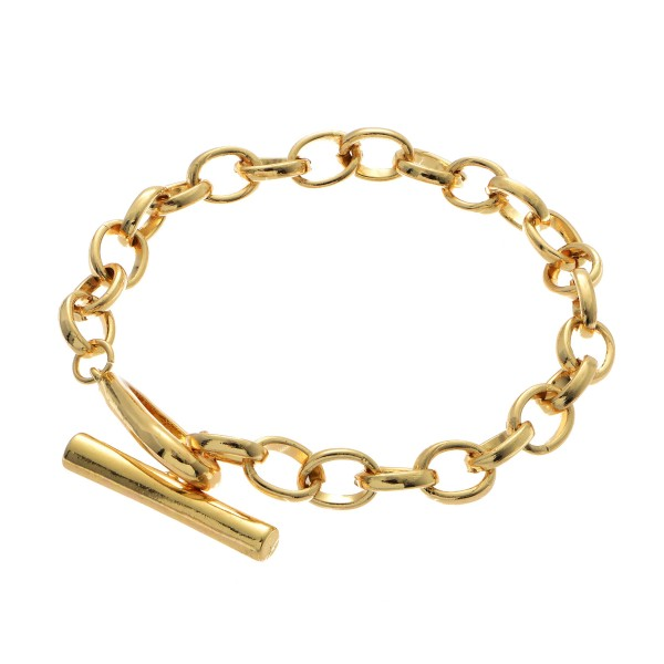 """Toggle Bar Chain Bracelet.  - Toggle Bar Clasp Closure - Approximately 3"""" in Diameter"""