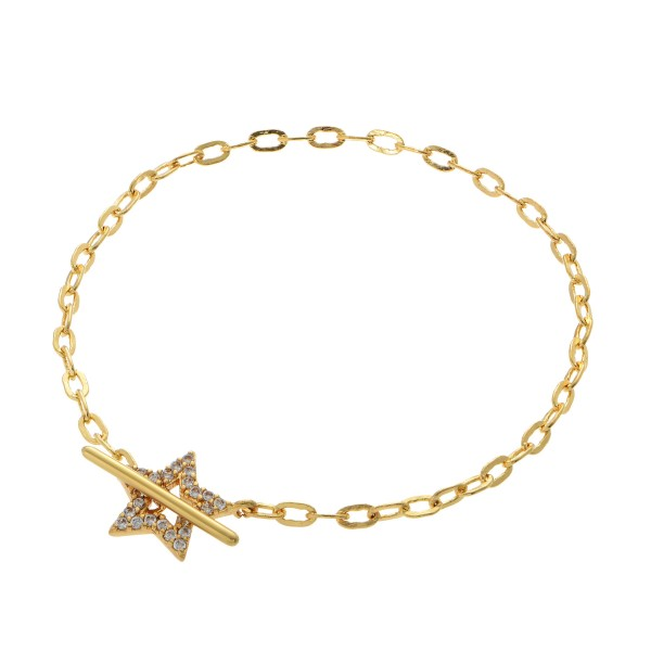 "Dainty Rhinestone Star Toggle Bar Bracelet.  - Star .5  - Approximately 3"" in Diameter - Toggle Bar Clasp Closure"