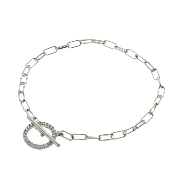 "Dainty Rhinestone Circular Toggle Bar Bracelet.  - Circle .5""  - Approximately 3"" in Diameter - Toggle Bar Clasp Closure"