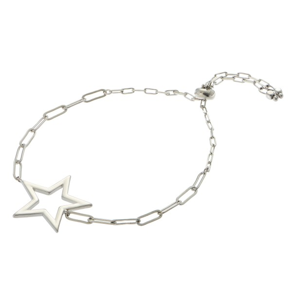 "Hera Link Star Bolo Bracelet.  - Star Focal 1"" - Approximately 3"" in Diameter - Adjustable Bolo Closure"