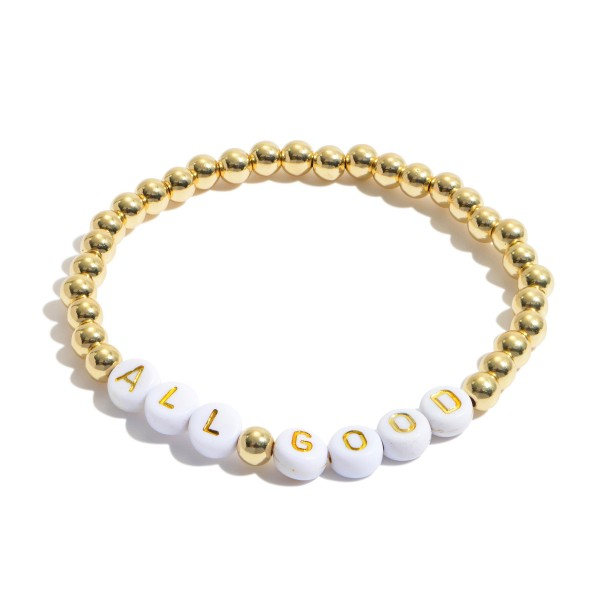 """All Good Pisa Beaded Stretch Bracelet in Gold.  - Bead Size 4mm - Approximately 3"""" in Diameter"""