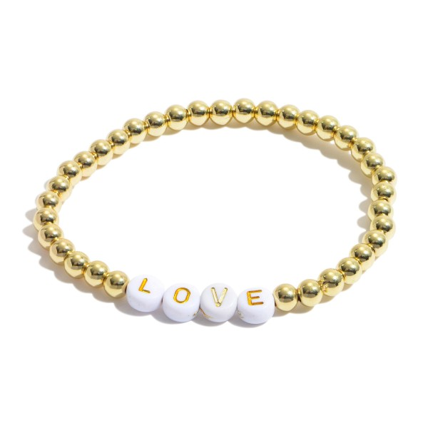 "Love Pisa Beaded Stretch Bracelet in Gold.  - Bead Size 4mm - Approximately 3"" in Diameter"