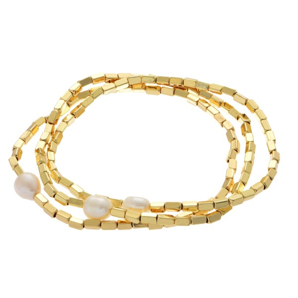 "Gold Beaded Pearl Stretch Bracelet Set.  - 3 PCS Per Set - Pearl 5mm  - Approximately 3"" in Diameter"