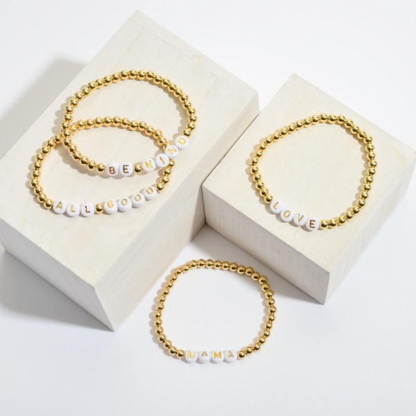 """Mama Pisa Beaded Stretch Bracelet in Gold.  - Bead Size 4mm - Approximately 3"""" in Diameter"""