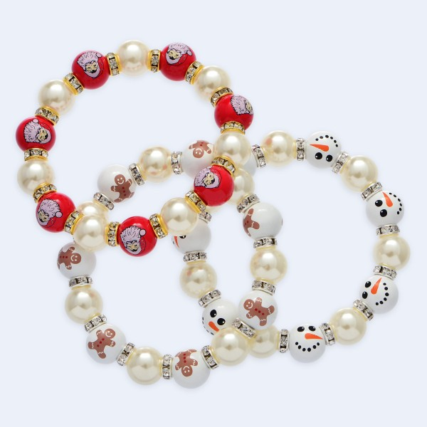 "Rhinestone Christmas Pearl Stretch Bracelet.  - Pearl & Bead Size: 10mm - Approximately 3"" in Diameter"