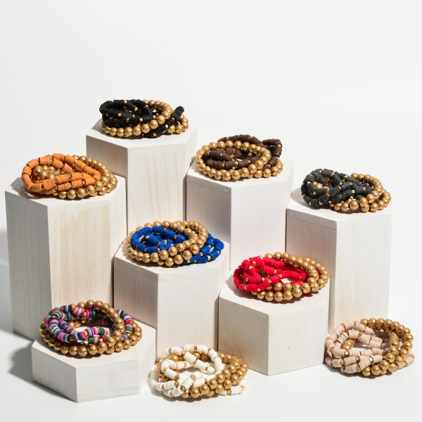 "5 PC CCB Rubber Heishi Beaded Stackable Stretch Bracelet Set in Gold.  - 5 PC Per Set - Approximately 3"" in Diameter"