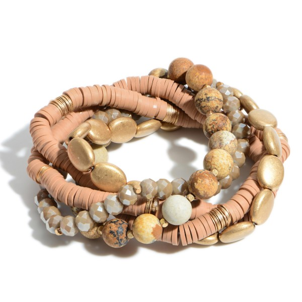 "5 PC Semi Precious Rubber Heishi Beaded Stackable Stretch Bracelet Set in Gold.  - 5 PC Per Set - Approximately 3"" in Diameter"