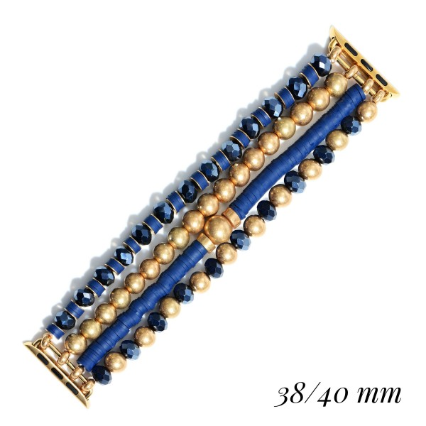 """Interchangeable CCB Rubber Heishi Beaded Stretch Bracelet for Smart Watches Only.  - Fits 38-40mm Watch Face - Approximately 3"""" in Diameter"""