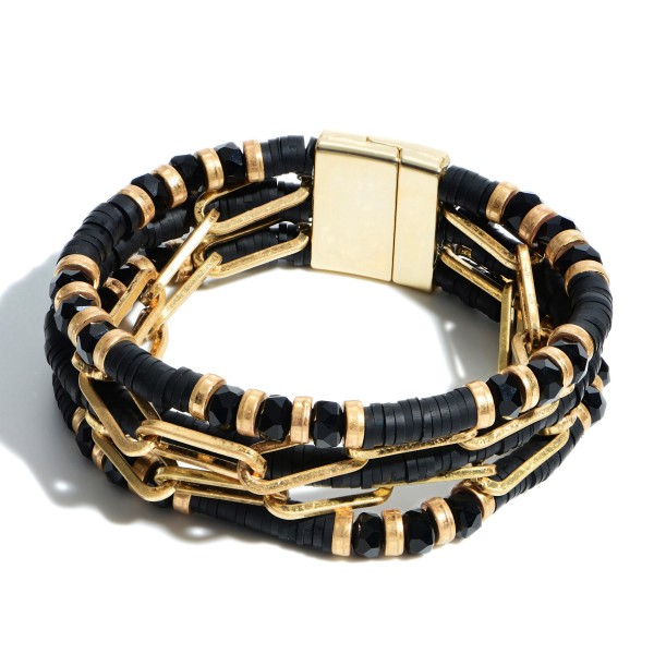 """5 Row Rubber Heishi Beaded Chain Link Magnetic Bracelet.  - Magnetic Closure - Approximately 3"""" in Diameter"""