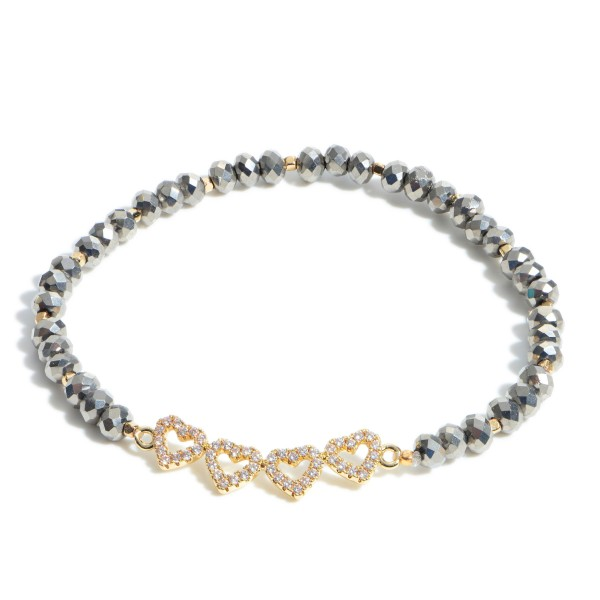 """Pave Heart Beaded Stretch Bracelet.  - Focal 1.25"""" - Approximately 3"""" in Diameter"""