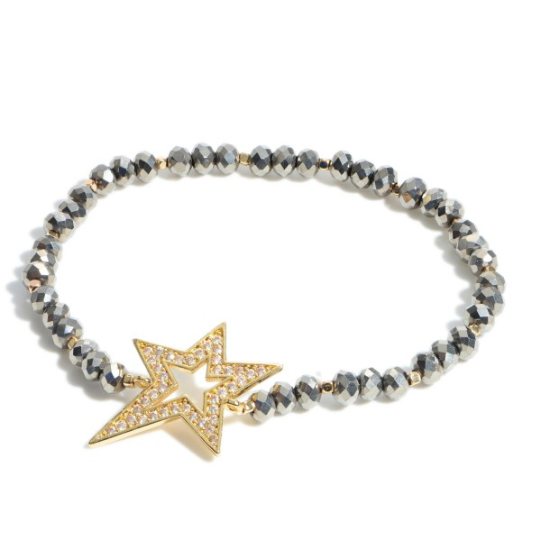 """Pave Star Beaded Stretch Bracelet.  - Focal 1""""  - Approximately 3"""" in Diameter"""