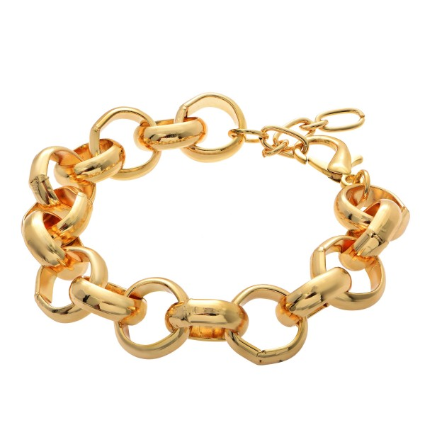 "Circle Chain Link Bracelet in Gold.  - Approximately 3"" in Diameter - 1"" Adjustable Extender"