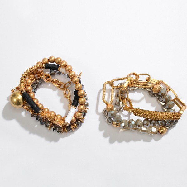 """4 PC Multi Beaded Chain Link Stretch Bracelet Set.  - 4 PC Per Set - Approximately 3"""" in Diameter - Stretches - Chain Link Strand 3"""" in Diameter  - 1"""" Adjustable Extender"""