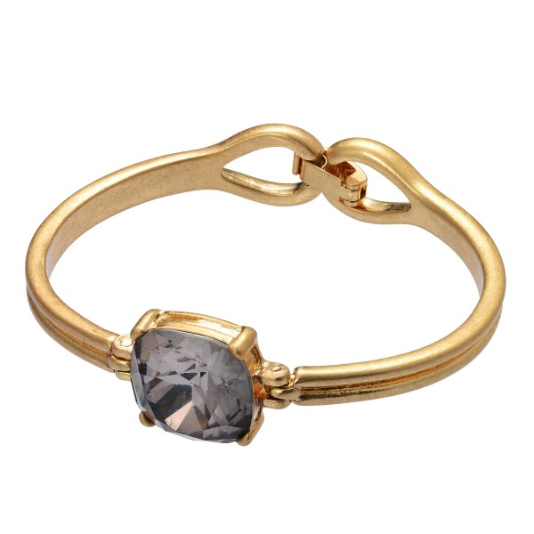 "Crystal Gemstone Bangle Bracelet in Gold.  - Focal .75"" in Size - Approximately 2.5"" in Diameter - Hook Clasp Closure"