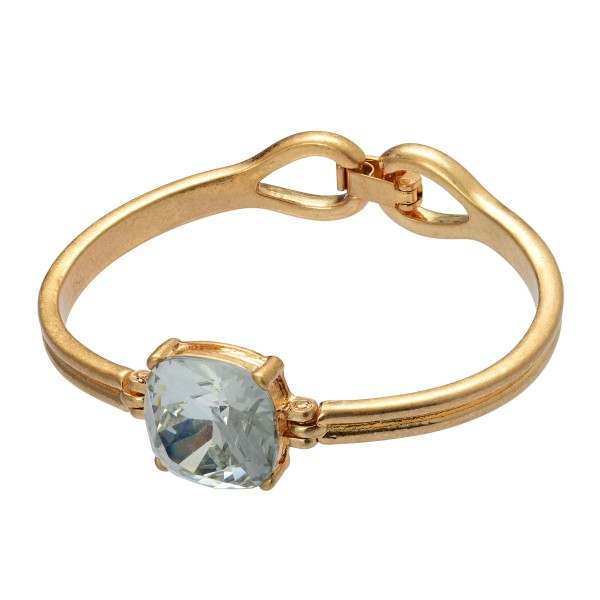 """Crystal Gemstone Bangle Bracelet in Gold.  - Focal .75"""" in Size - Approximately 2.5"""" in Diameter - Hook Clasp Closure"""