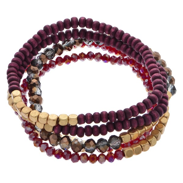 "5 PC Mixed Wood Beaded Stretch Bracelet Set.  - 5 PC's Per Set - Approximately 3"" in Diameter"