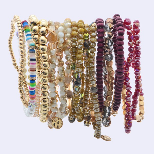 """5 PC Mixed Wood Beaded Stretch Bracelet Set.  - 5 PC's Per Set - Approximately 3"""" in Diameter"""