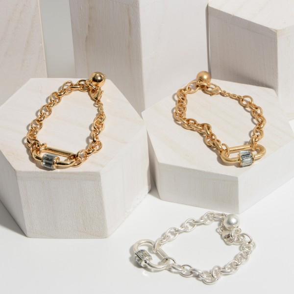 "Chain Link Carabiner Bracelet.  - Focal 1"" - Approximately 3"" in Diameter - Adjustable Lobster Clasp"
