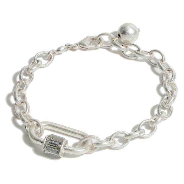 """Chain Link Carabiner Bracelet in a Worn Finish.  - Focal 1"""" - Approximately 3"""" in Diameter - Adjustable Lobster Clasp"""