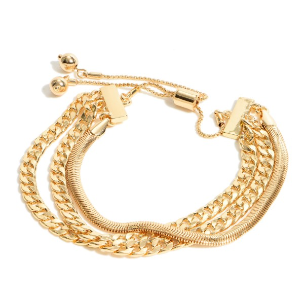 """Curb Chain Link Bolo Bracelet.  - Adjustable Bolo Clasp - Approximately 3"""" in Diameter"""