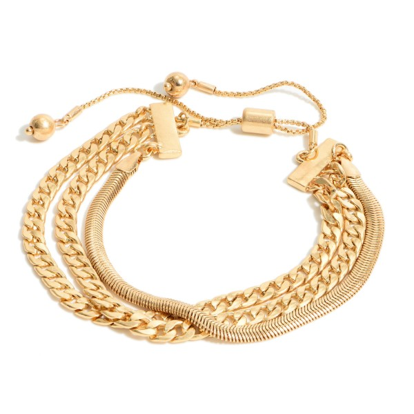 """Curb Chain Link Bolo Bracelet in a Worn Finish.  - Adjustable Bolo Clasp - Approximately 3"""" in Diameter"""